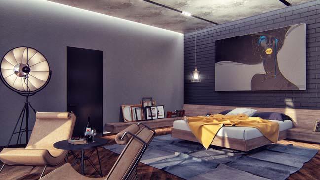 mau thiet ke phong ngu dep voi tong mau toi 14 Mẫu thiết kế phòng ngủ đẹp, cá tính cực huyền bí