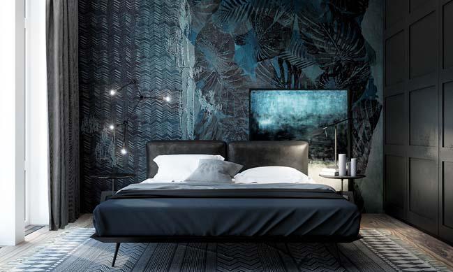 mau thiet ke phong ngu dep voi tong mau toi 17 Mẫu thiết kế phòng ngủ đẹp, cá tính cực huyền bí