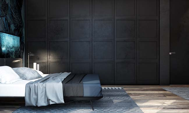 mau thiet ke phong ngu dep voi tong mau toi 18 Mẫu thiết kế phòng ngủ đẹp, cá tính cực huyền bí