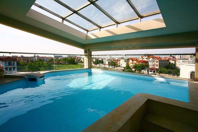 Mẫu biệt thự đẹp 4 tầng với hồ bơi trên sân thượng
