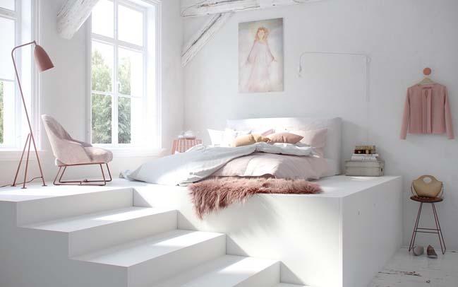 thiet ke phong ngu dep mau trang 01 Chia sẻ 20+ mẫu phòng ngủ đẹp với tông màu trắng