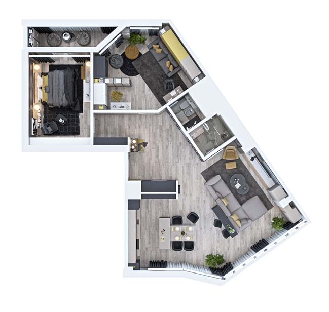 Mẫu thiết kế cho căn hộ hiện đại sang trọng