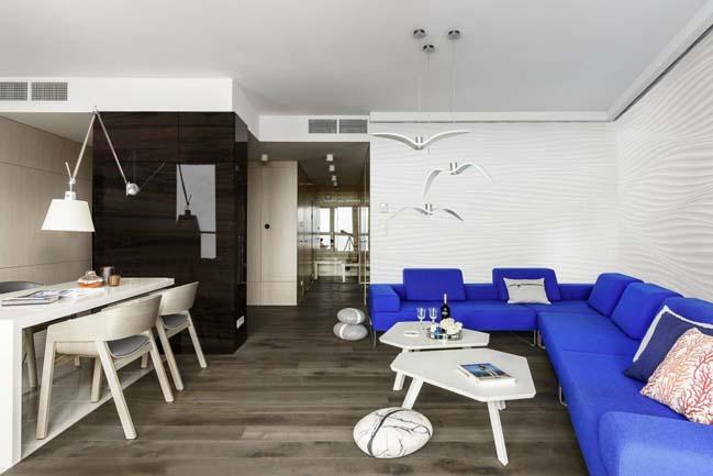 Căn hộ chung cư sang trọng với điểm nhấn màu xanh