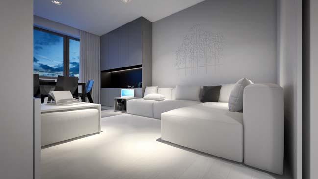 Căn hộ màu trắng sang trọng với thiết kế tối giản