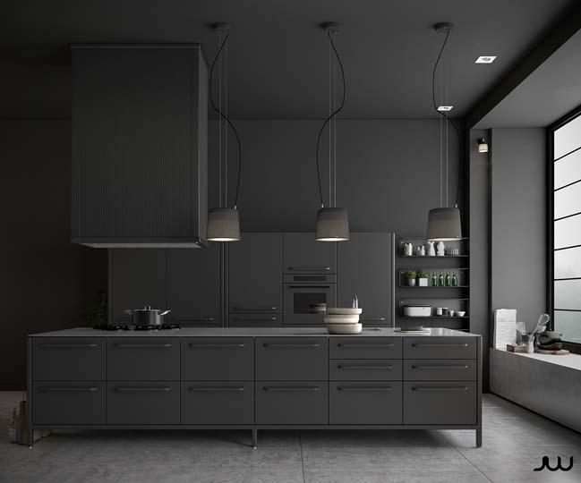 mau tu bep dep mau den 01 Thiết kế nhà bếp nổi bất với các tông màu tối