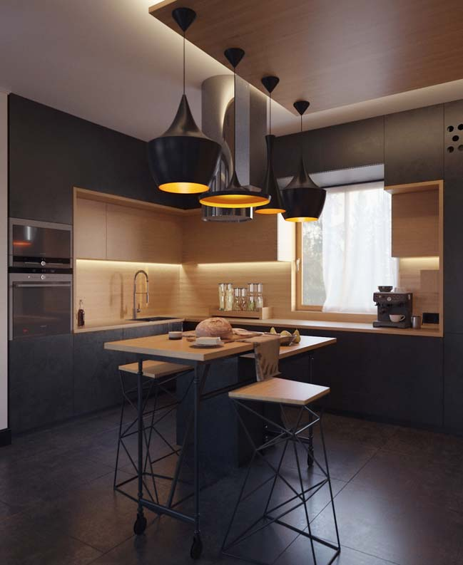 mau tu bep dep mau den 04 Thiết kế nhà bếp nổi bất với các tông màu tối