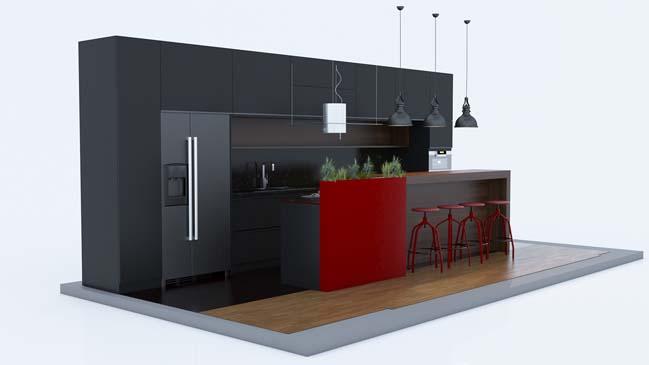 mau tu bep dep mau den 05 Thiết kế nhà bếp nổi bất với các tông màu tối