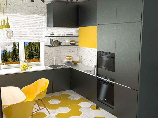 mau tu bep dep mau den 07 Thiết kế nhà bếp nổi bất với các tông màu tối