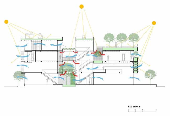 Mẫu thiết kế nhà đẹp với sân vườn trung tâm thoáng mát