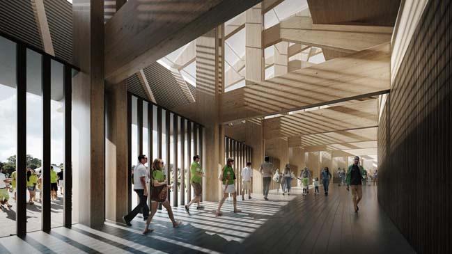 Kiến trúc sân vận động bằng gỗ của Zaha Hadid Architects