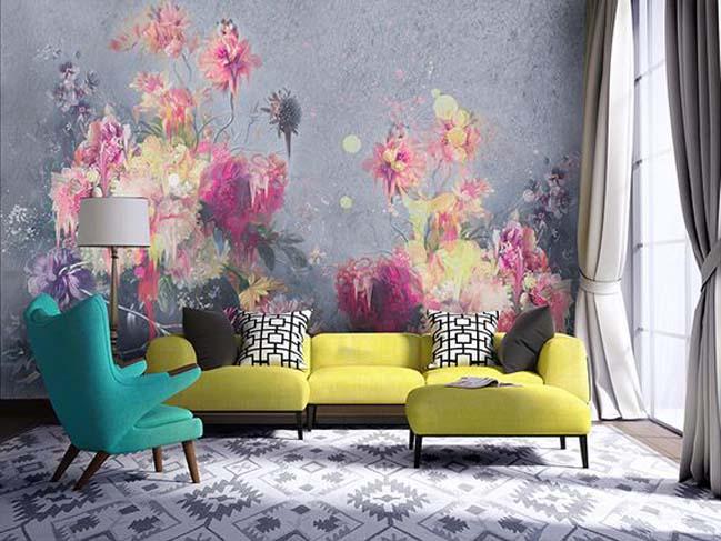 Trang trí phòng khách với những bức tranh tường hoa