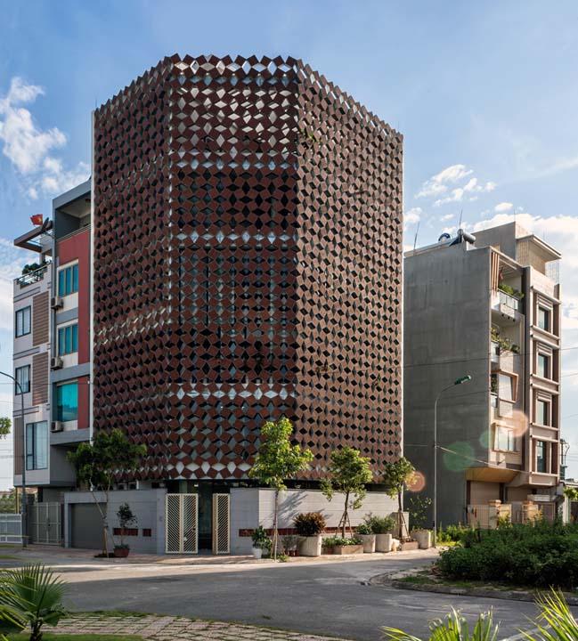 Mẫu nhà phố đẹp 5 tầng với mặt tiền 2 lớp