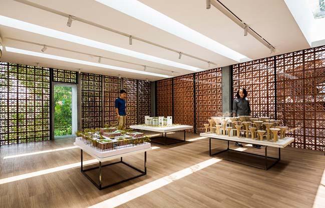 Phòng trưng bày Panasonic với vỏ bọc bằng gạch đất nung