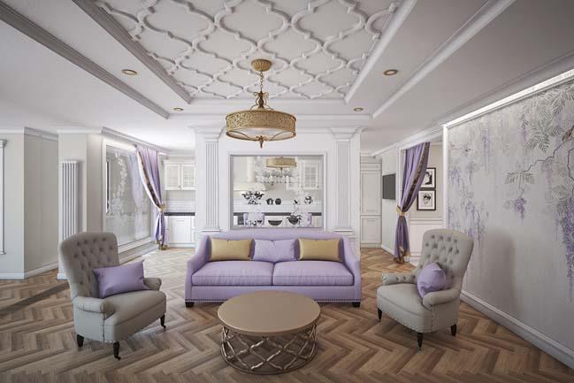 Mẫu căn hộ 3 phòng ngủ với thiết kế cổ điển sang trọng