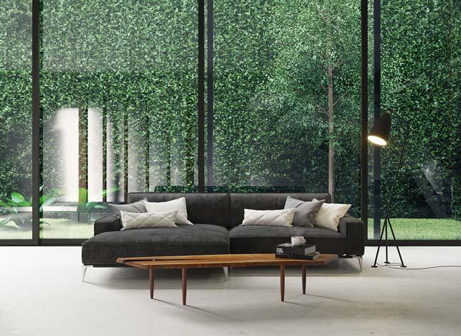 Thiết kế phòng khách đẹp nhìn ra khu vườn đứng ngoài trời