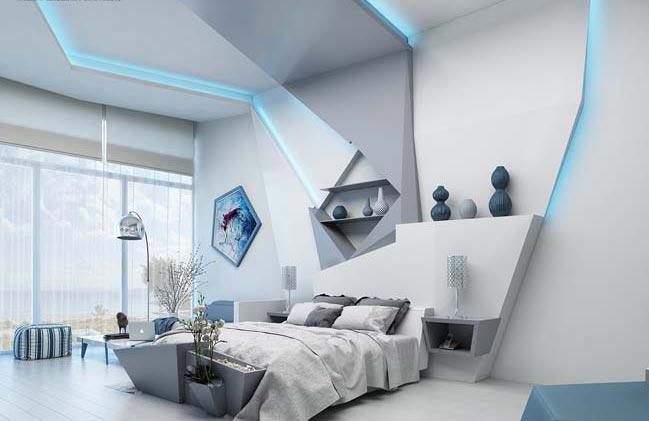 Mẫu phòng ngủ đẹp với phong cách Futuristic độc đáo