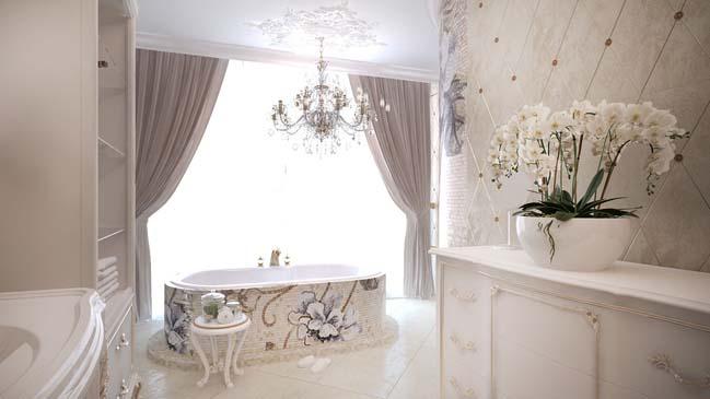Mẫu phòng tắm đẹp với thiết kế cổ điển sang trọng