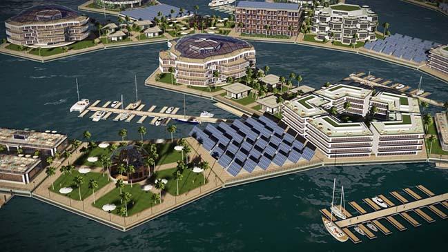 Ý tưởng kiến trúc thành phố nổi vào năm 2020