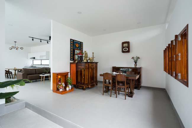 Mẫu nhà một tầng kết hợp giữa hiện đại và truyền thống