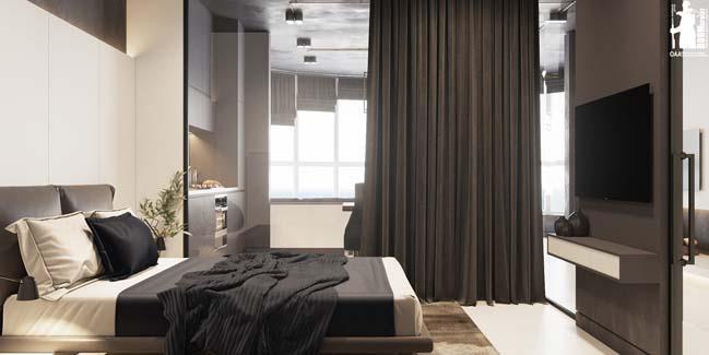 Mẫu nội thất căn hộ chung cư 1 phòng ngủ