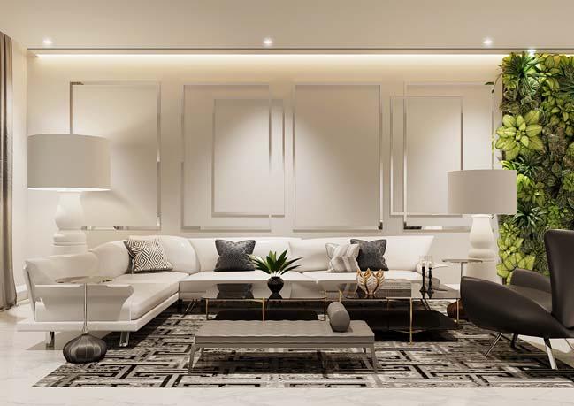 Mẫu nhà đẹp 2 tầng với nội thất trắng tinh tế