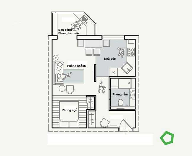 Mẫu nội thất hiện đại cho căn hộ chung cư 40m2