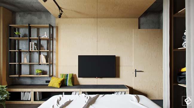 Mẫu nhà đẹp với nội thất kết hợp giữa bê tông và gỗ