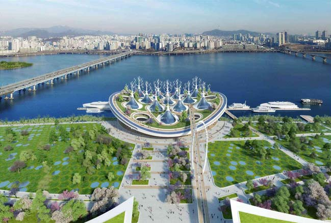Bến phà nổi với thiết kế kiến trúc hình cá đuối tại Seoul