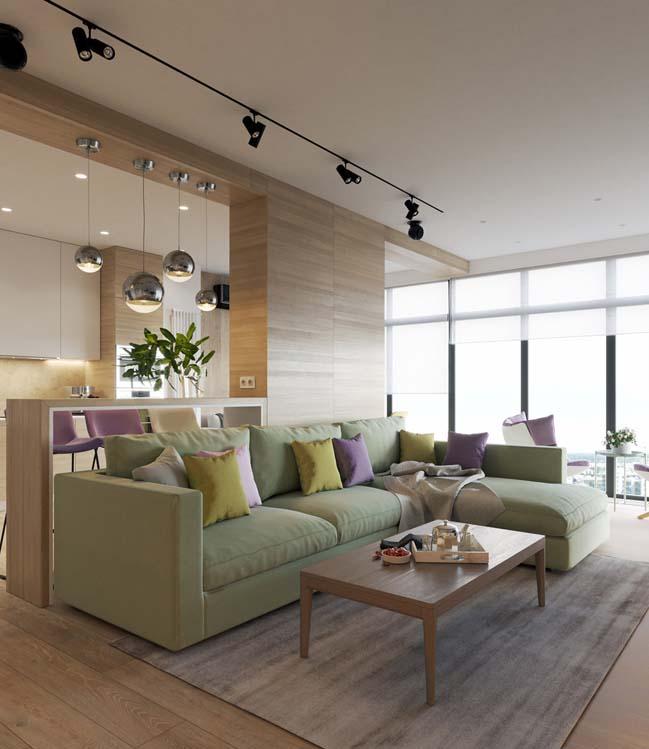Mẫu căn hộ ấm cúng với nội thất gỗ và tông màu pastel