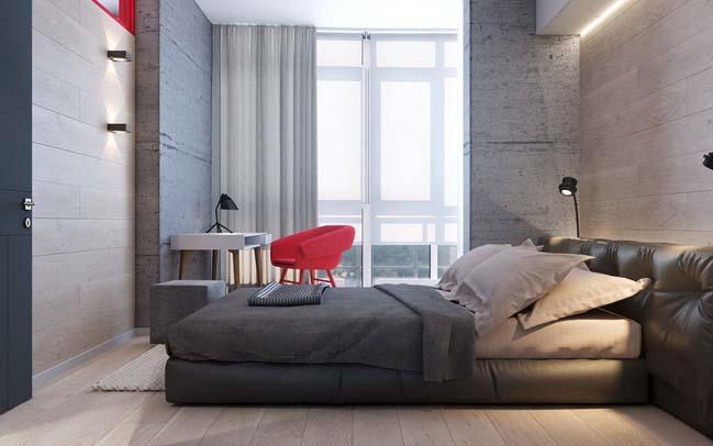 Mẫu căn hộ hiện đại với điểm nhấn màu đỏ