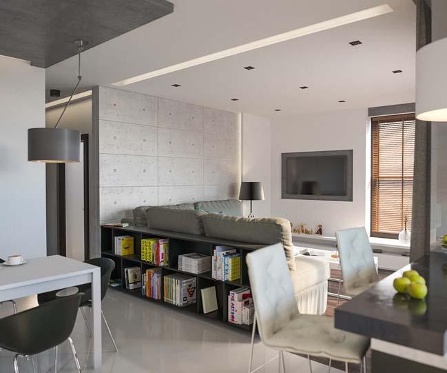 Trang trí nội thất căn hộ với mảng tường bê tông cá tính