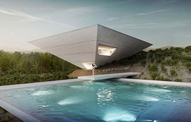 Mẫu thiết kế nhà đẹp với kiến trúc kim tự tháp ngược