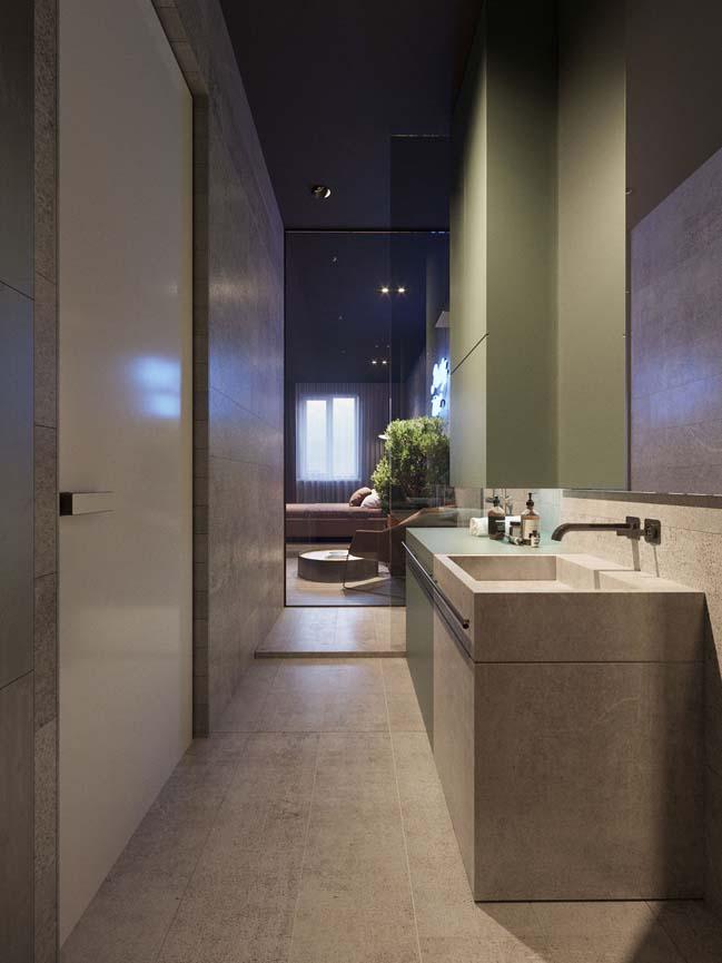 Căn hộ chung cư 1 phòng ngủ với tông màu tối