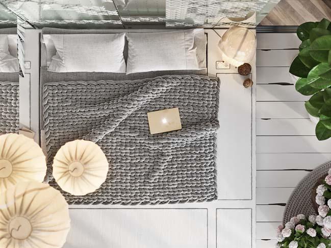 Mẫu phòng ngủ đẹp lấy đan thêu làm chủ đề