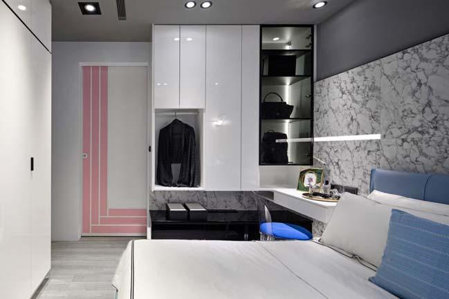 Nội thất căn hộ màu xám với điểm nhấn tương phản