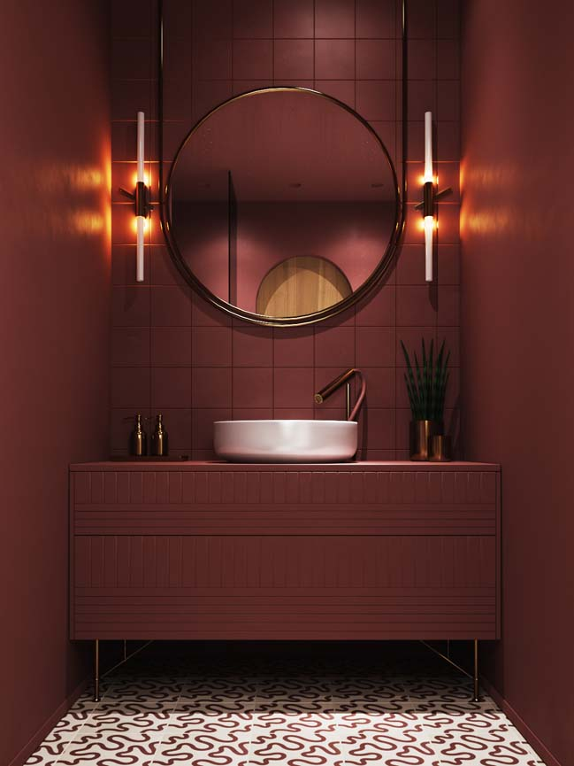 Mẫu phòng tắm đẹp với tông màu đỏ bordeaux