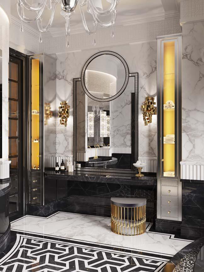 Thiết kế phòng tắm sang trọng với phong cách Art Deco