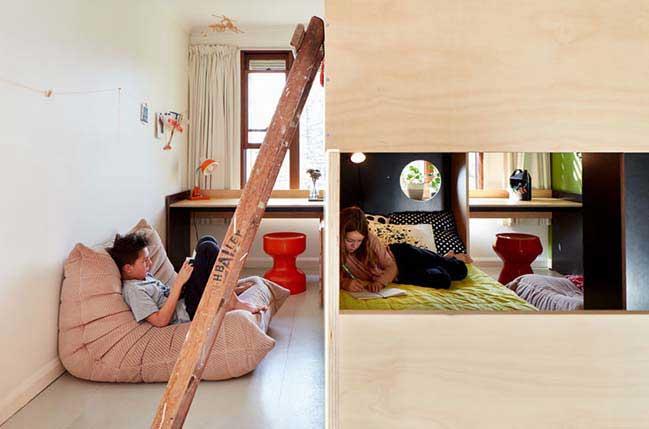 Chia đôi phòng ngủ giúp 2 bé có không gian riêng
