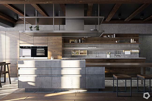 Nội thất căn hộ cá tính với bê tông và gỗ
