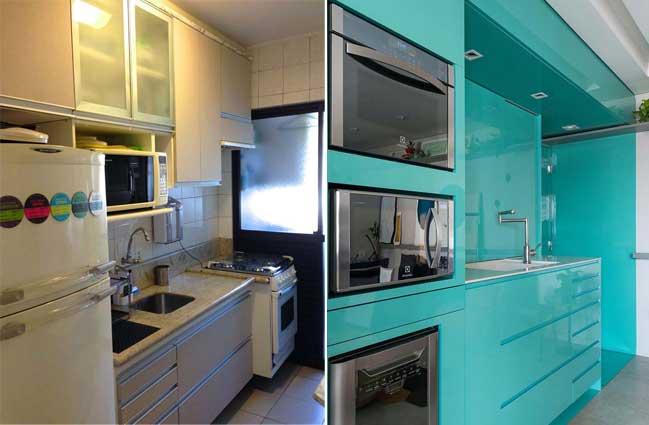 Cải tạo nhà bếp cũ với điểm nhấn màu xanh nổi bật