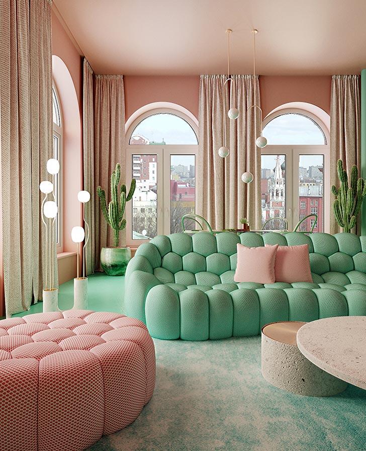 Nội thất căn hộ tại New York với sắc hồng và xanh nổi bật