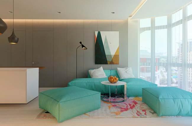 Cải tạo căn hộ 1 phòng ngủ với nội thất ấm áp