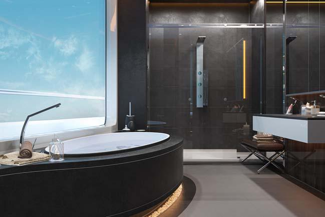 Phong tắm sang trọng với không gian hòa hợp với thiên nhiên